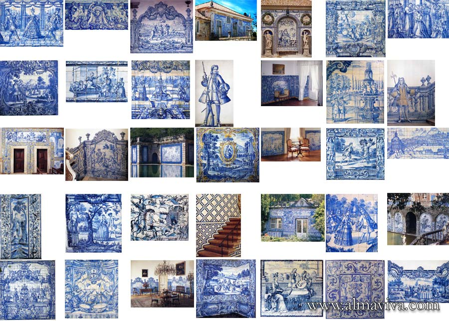 azulejos tiles mural blue Portugal Sintra