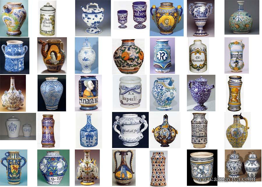 apothecary jars handmade Italy Renaissance majolica Theriaca