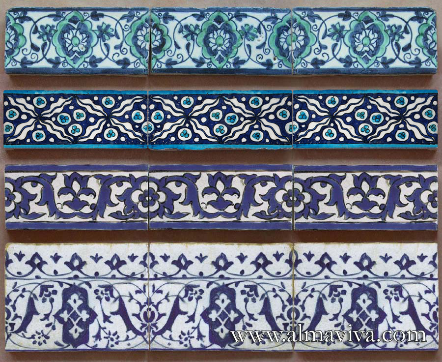 Almaviva Islamic tiles - Ref. OR23 - Islamic friezes. Some examples 5x15 or 7,5x15 cm (about 2''x6'' or 3''x6'')