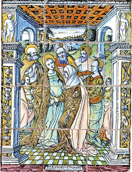 Almaviva Renaissance tiles - Ref. CD23 - The Visitation. Dim. 156x112 cm. This is the first azulejos panel ever painted, in the Royal chapel of the Alcazar in Sevilla (Spain), Made by Francisco Niculoso, italian painter living in Sevilla around 1500