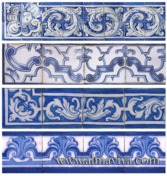 Azulejos Almaviva-Ref. AC01 - Some examples of friezes and plinths. Here, 15x15 cm tiles (about 6''x6''), but we can make all sizes
