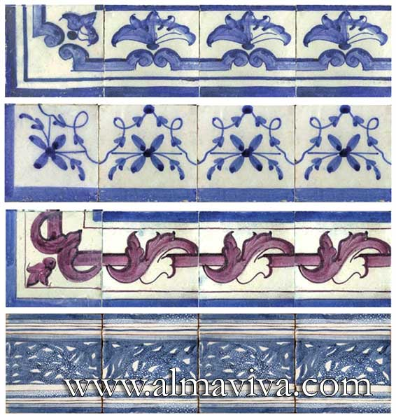 Azulejos Almaviva-Ref. AC03 - More examples of friezes and plinths. Tiles 15x15 cm (about 6''x6''), or any size