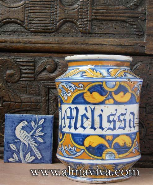 Ref. POT1 - Apothicary jar Faenza. H 22 cm (about 8,6'')
