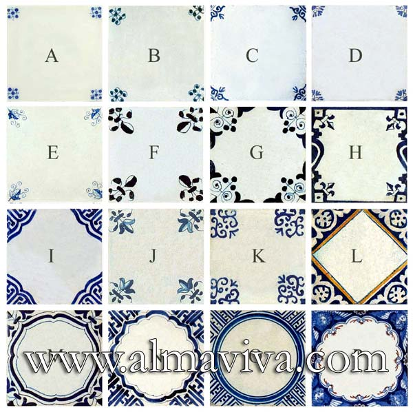 Almaviva Delft tile - Ref. DC11 - 16 patterns for corners. Delft tiles (see keywords) are often composed with a decor in the center (character, flower, animal, etc.) and 4 corner motifs. Here are some examples of these