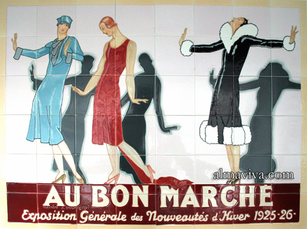 Ref. AN52 - Advertising for Le Bon Marché. Ceramic panel. Size 120x90 cm