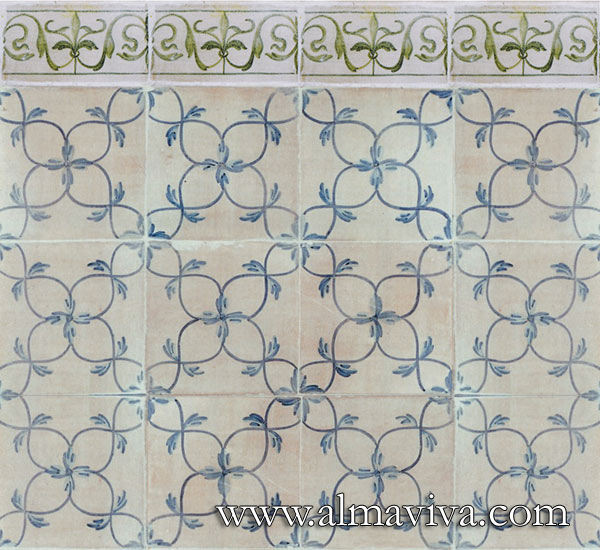 Almaviva Renaissance tiles - Ref. RC13 - Interlace. Tiles 20x20 cm or 15x15 cm (around 8''x8''or 6''x6''). Decor painted upon engobe (see keywords)