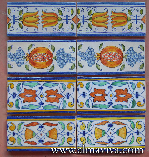 Almaviva Delft tile - Ref. DC06 - Flowers and fruits border tiles 7,5x15 cm (about 3''x6'')