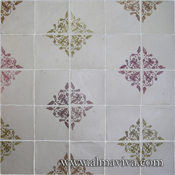 Almaviva Renaissance tiles - Ref. RC06 - 3 colours. Decor painted upon engobe (see keywords). Tiles 15x15 cm (about 6''x6'')
