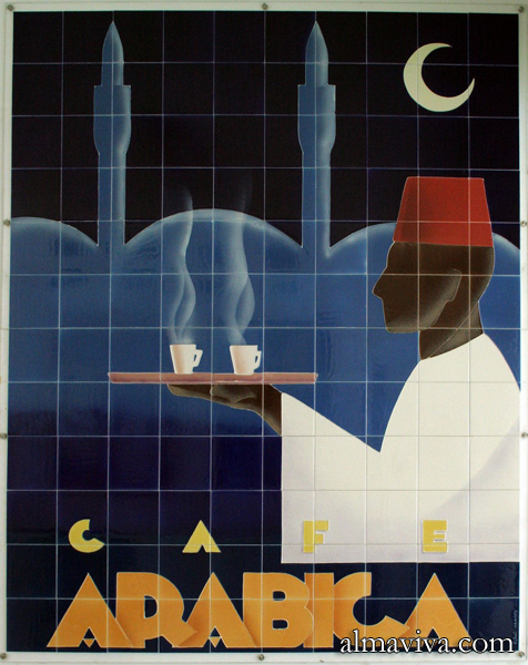 Ref. AN54 - Advertising for Arabica coffee. Ceramic panel. Size 150x180 cm