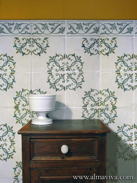 Almaviva Renaissance tiles - Ref. RC08 - Tiles, 15x15 cm (around 6''x6'')