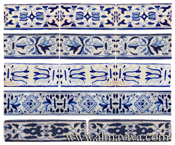 Almaviva Delft tile - Ref. DC15 - More blue borders. Dimensions depend on your needs