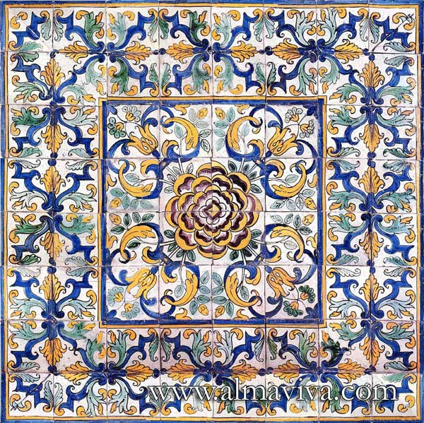 Azulejos Almaviva-Ref. AC02 - Rose panel. Tiles 13x13 or 15x15 cm (about 5''x5'' or 6''x6'')