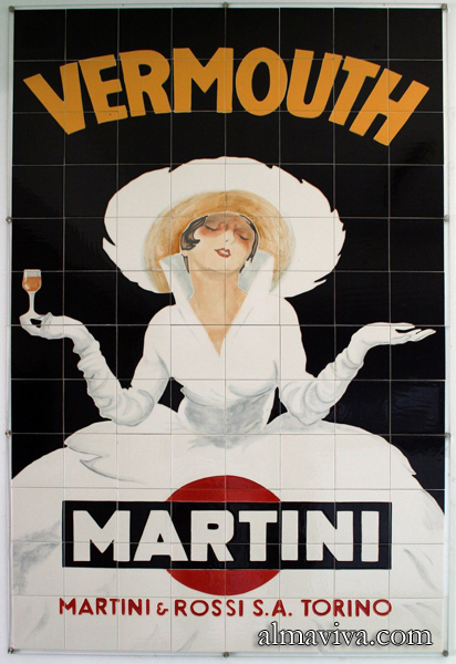 Ref. AN55 - Advertising for Martini. Ceramic panel. Size 120x180 cm