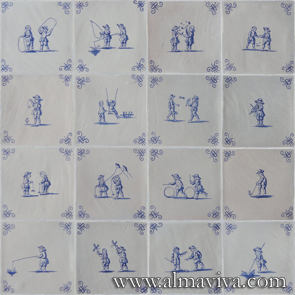 Almaviva Delft tile - Ref. DC05 - Children's games, tiles 13x13 or 15x15 cm (about 5''x5'' or 6''x6'')