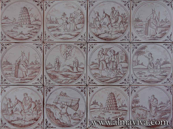 Almaviva Delft tile - Ref. DC17 - Biblical scenes. Tiles 13x13 or 15x15 cm (about 5''x5'' or 6''x6''), painted with manganese oxide, in a circle and corner motif ''spider''