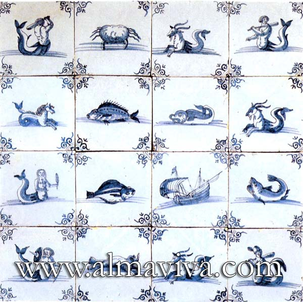 Almaviva Delft tile - Ref. DC13 - Nautical creatures, tiles 13x13 or 15x15 cm (about 5''x5'' or 6''x6''). Corner motif : oxhead