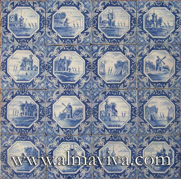 Almaviva Delft tile - Ref. DC07 - Dutch landscapes. Tiles 13x13 or 15x15 cm (about 5''x5'' or 6''x6'')