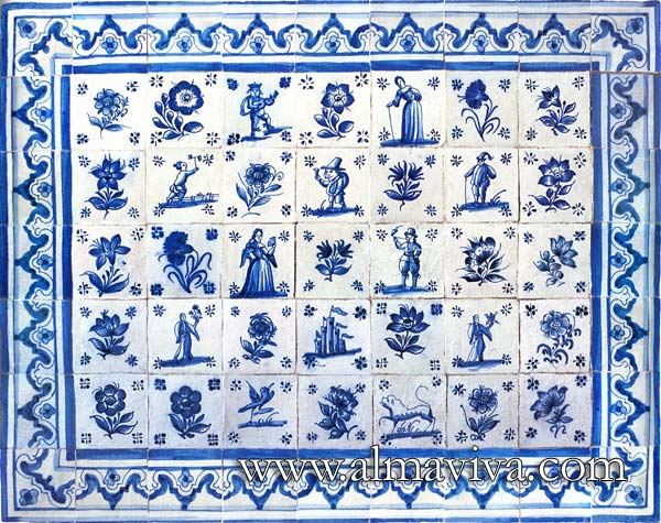Azulejos Almaviva-Ref. AC21 - Azulejos ''figura avulsa'' (see keywords): typical Portuguese production of the 17th-18th c. Tiles 13x13 or 15x15 cm (about 5''x5'' or 6''x6'')