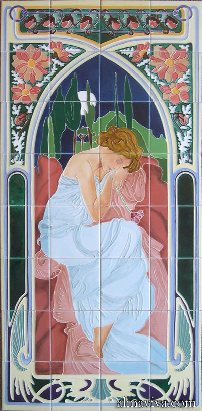 Ref. AN 50 - Reproduction on ceramic tiles of Alfons Mucha lithography Rest of the Night. Size 120x60 cm