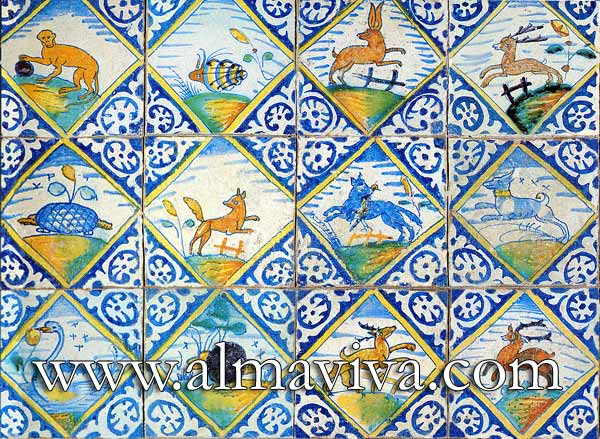 Almaviva Delft tile - Ref. DC08 - Polychrome Animals. Tiles 13x13 or 15x15 cm (about 5''x5'' or 6''x6''), painted in diamond; corner motif : palmette in reserve