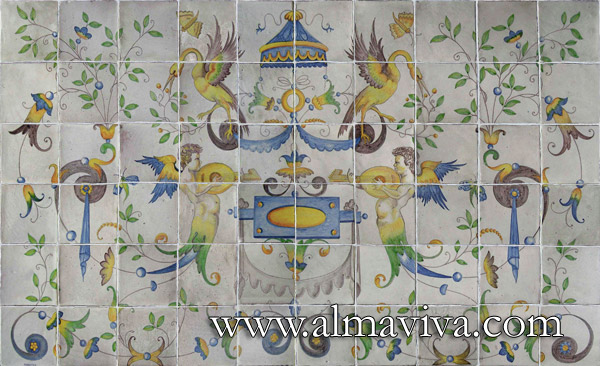 Almaviva Renaissance tiles - Ref. R22 - Musician angels. Dim. 150x90 cm (about 60''x36''). Renaissance panel inspired by the pavement painted by Masseot Abaquesne (see keywords) around 1550 for the Batie d'Urfe Castle (Loire, France) and now exposed in Le