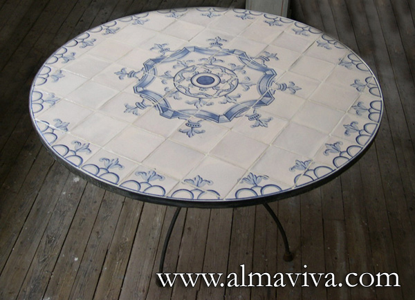 Almaviva Handmade tile - Ref. CD46 - Tabletop tile. Spanish pattern, 17th c.
