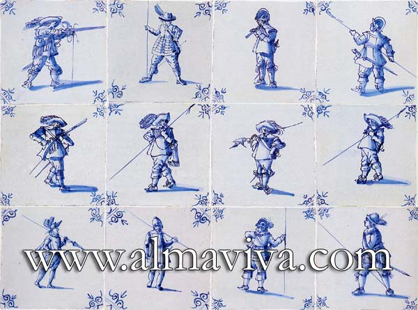 Almaviva Delft tile - Ref. DC09 - Army rabble. Tiles 13x13 or 15x15 cm (about 5''x5'' or 6''x6''). Corner motif : oxhead