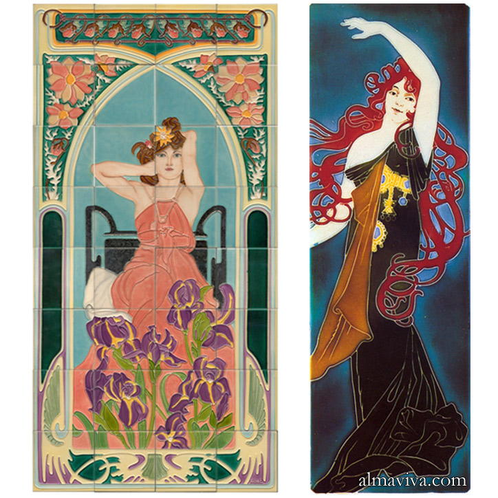 Ref. AN51 - Ceramic panels Art Nouveau inspired by Alfons Mucha.