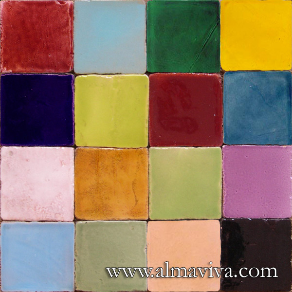 Almaviva Handmade tile - Ref. CD09 - Shiny glazes. Tiles 10x10, or 13x13 or 15x15 cm (about 4''x4'', 5''x5'' or 6''x6'')