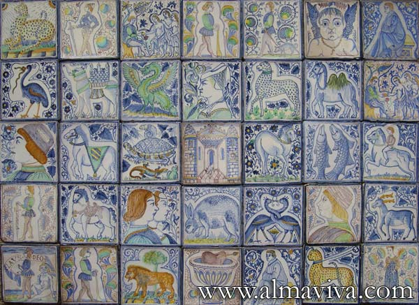 Medieval tiles - Ref. MA09 - Tiles from Parma. Reproduction of maiolica tiles 15x15 cm (about 6''x6'') from the San Paolo Convent in Parma (Italy) (1471-1482)