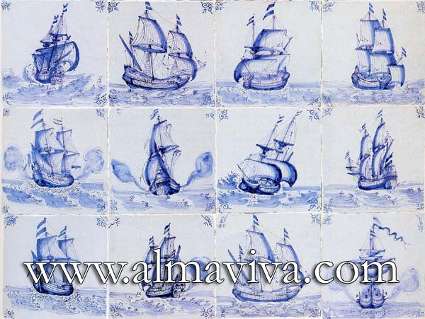 Almaviva Delft tile - Ref. DC24 - Sailing ship. Tiles 13x13, 15x15 or 20x20 cm (about 5''x5'', 6''x6'' or 8''x8''). Corner motif : oxhead