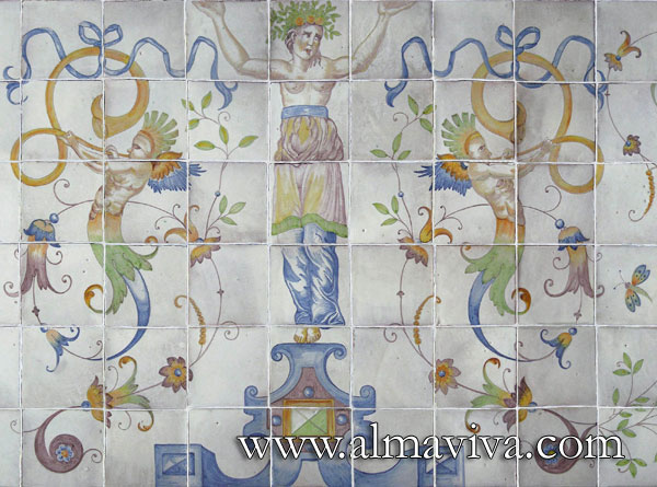 Almaviva Renaissance tiles - Ref. R20 - Caryatid. Panel 150 x 90 cm (about 60''x36'') inspired by the pavement painted by Masseot Abaquesne (see keywords) around 1550 for the Batie d'Urfe Castle (Loire, France) and now exposed in Le Louvre Museum