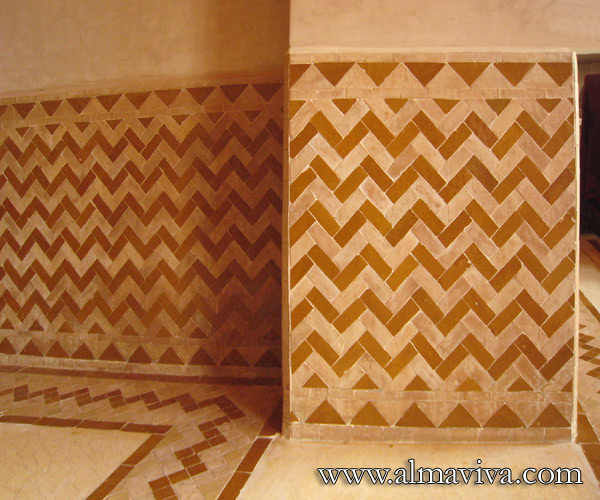Almaviva Zellige - Chevron pattern. The zellige (see keywords) allow a great variety of geometric combinations