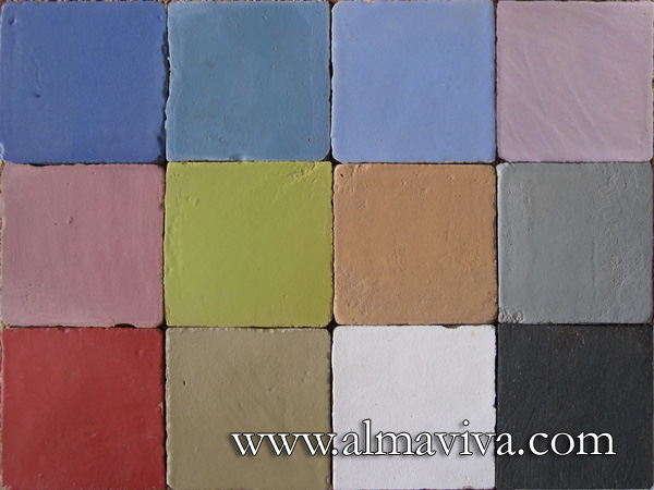 Almaviva Handmade tile - Ref. CD18 - Matt glazes. Tiles 10x10, or 13x13 or 15x15 cm (about 4''x4'', 5''x5'' or 6''x6'')
