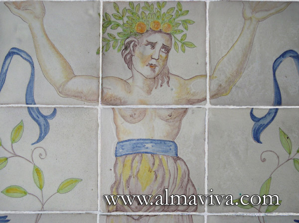Almaviva Renaissance tiles - Ref. R20 - Caryatid detail. Panel inspired by the pavement painted by Masseot Abaquesne (see keywords) around 1550 for the Batie d'Urfe Castle (Loire, France) and now exposed in Le Louvre Museum