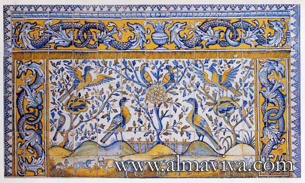 Azulejos Almaviva-Ref. A28 - Oriental Azulejos (see keywords). Dim. 185x110 cm (about 73''x43''). Theses panels were used in Portugal to decorate the altar, they were imitation of fabrics from India
