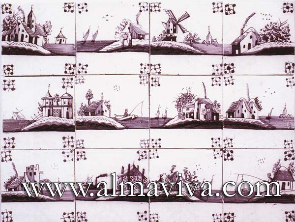Almaviva Delft tile - Ref. DC14 - Landscapes. Tiles 13x13 or 15x15 cm (about 5''x5'' or 6''x6''), painted with manganese oxide. Corner motif : spider