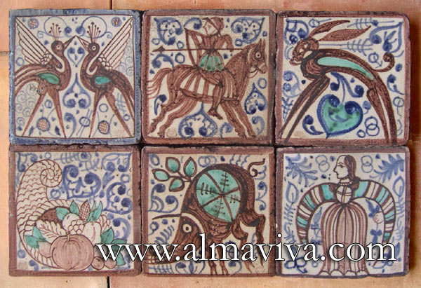 Ref. MA13 - Medieval tiles. 20x20 cm (about 8''x8'')