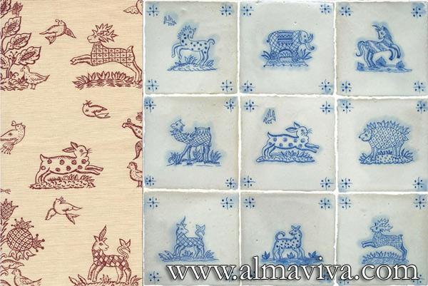 Almaviva Hand painted tile - Ref. CD22 - Indian Collection. Patterns inspired from an indian fabric, tiles 15x15 cm (about 6''x6'')