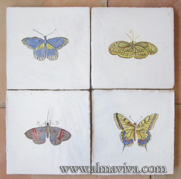 Almaviva Hand painted tile - Ref. CD07 - Butterflies. Tiles 20x20 or 15x15 cm (about 8''x8'' or 6''x6'')