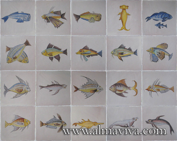 Almaviva Hand painted tile - Ref. CD29 - Fish. Tiles 20x20 cm (about 8''x8'')