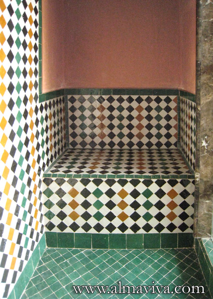 Shower with seat, white, green, yellow and black