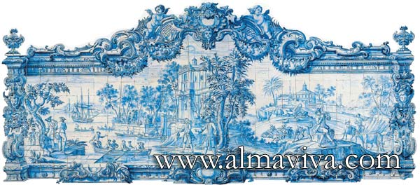 Azulejos Almaviva-Ref. A65 - Panel with baroque frame. Dim. 4,65x2,10 m (about 15'x6,9'). The original of this panel is exhibited in the Madre Deus Convent, the Azulejos Museum in Lisbon