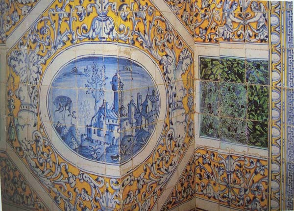 Almaviva Renaissance tiles - Ref. R02 - Yellow and blue mural. Tiles 13x13 or 15x15 cm (about 5''x5'' or 6''x6'')