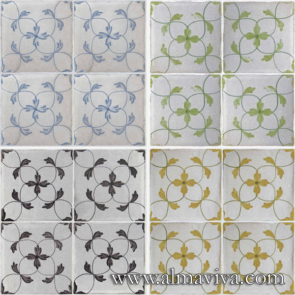 Almaviva Hand painted tiles - Ref. CD41 - Interlace 4 different colours. Tiles 15x15 cm (about 6''x6'')
