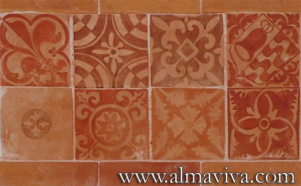 Medieval tile - Ref. MA03 - Decor on engobe (see keywords). Tiles 15x15 cm (about 6''x6'')