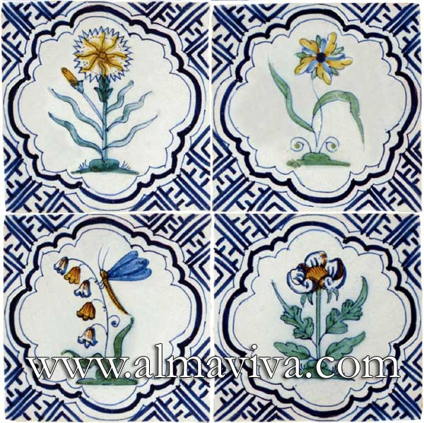 Almaviva Delft tile - Ref. DC19 - Polychrome flowers. Tiles 13x13 or 15x15 cm (about 5''x5'' or 6''x6'')