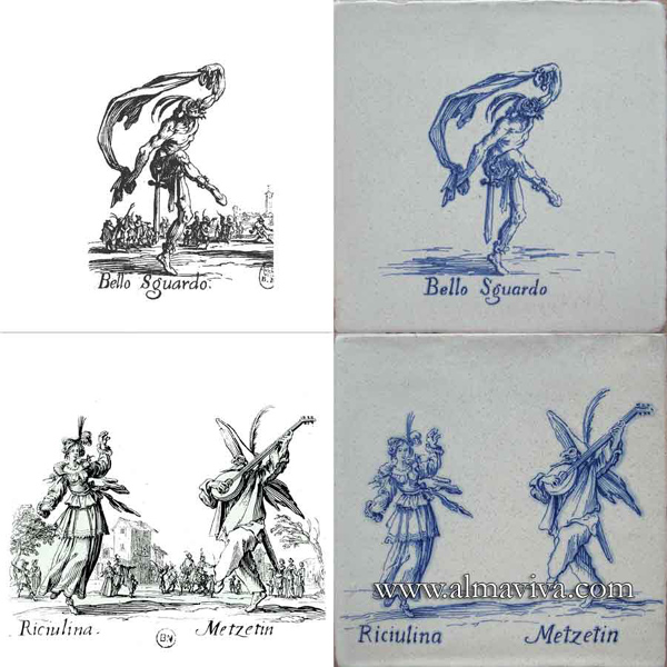 Almaviva Hand painted tile - Ref. CD19 - Commedia Dell'Arte Characters. Tiles 20 x 20 cm (about 8''x8''). Reproduction of 17th c. engravings (see archives)