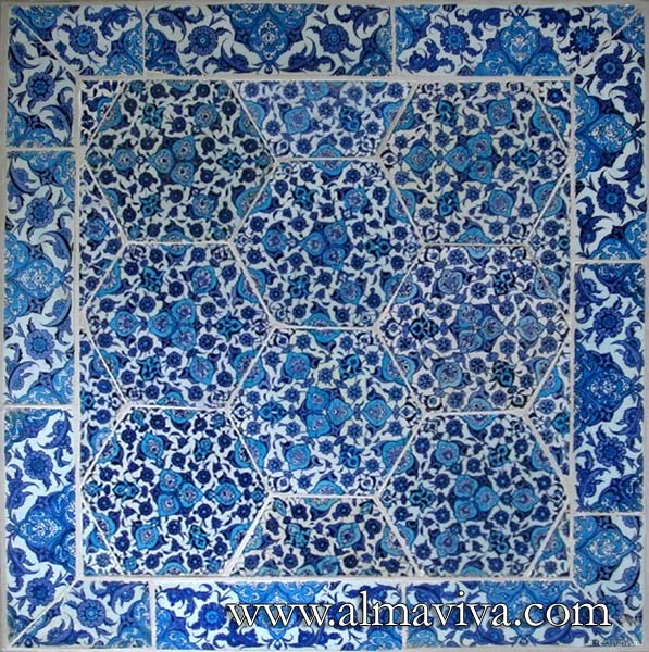 Almaviva Islamic tiles - Ref. OR9 - Iznik tiles square (see keywords). Dim. 75x75 cm (about 30''x30'')