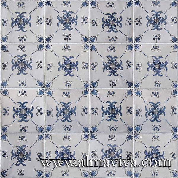 Almaviva Delft tile - Ref. DC16 - Geometric patterns. Tiles 13x13 or 15x15 cm (about 5''x5'' or 6''x6'')